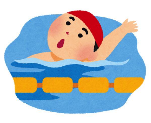 背泳をしている子ども